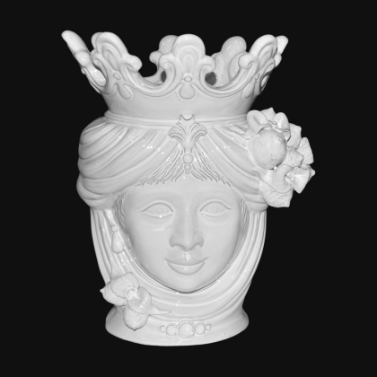 Ceramic Head with lemons h 40 white line female - Modern Moorish heads Sofia Ceramiche