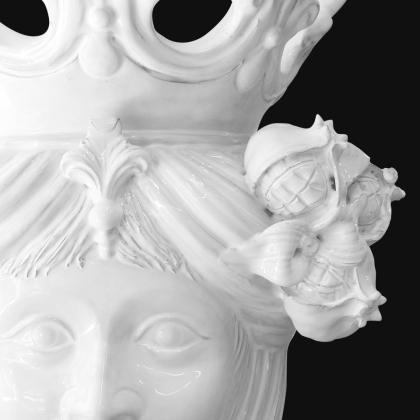 Ceramic Head with pomegranate h 40 white line female - Modern Moorish heads Sofia Ceramiche