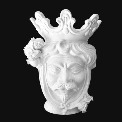 Ceramic Head with pomegranate h 40 white line male - Modern Moorish heads Sofia Ceramiche