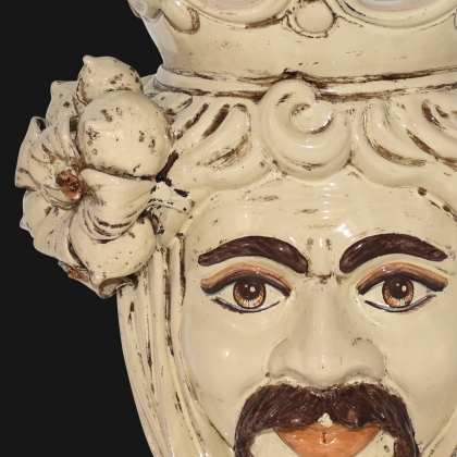 Testa h 40 limoni avorio maschio bianco - Ceramiche di Caltagirone