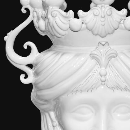 Candlestick head h 40 white line female - Modern Moorish heads Sofia Ceramiche
