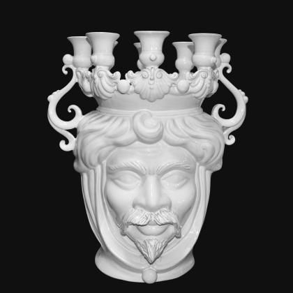 Candlestick head h 40 white line male - Modern Moorish heads Sofia Ceramiche