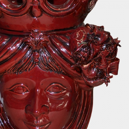Ceramic Head with pomegranate h 40 bordeaux line female