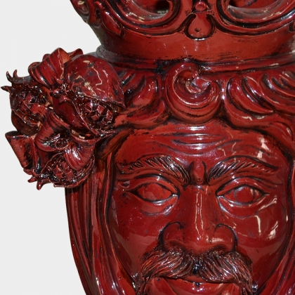 Ceramic Head with pomegranate h 40 bordeaux line male