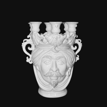 Candlestick head h 25 white line male - Modern Moorish heads Sofia Ceramiche
