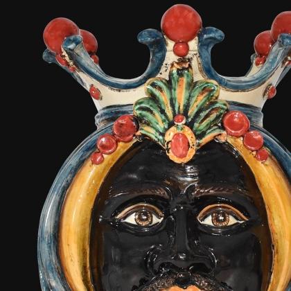 Testa h 38 in blu e arancio maschio moro - Ceramiche Di Caltagirone Sofia