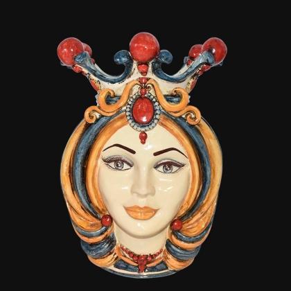 Ceramic Head of Sicily h 38 blu and orange female - Sofia Ceramiche artistic Ceramics