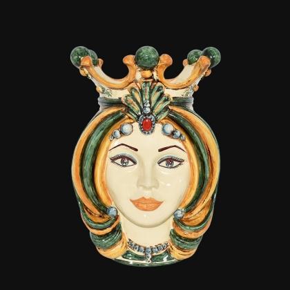 Ceramic Head of Sicily h 38 green and orange female - Sofia Ceramiche artistic Ceramics
