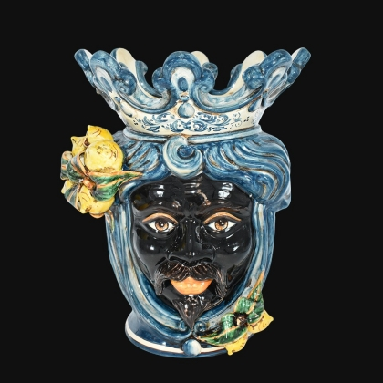 "Sicilian ceramic ""Moor's head"" with sicilian lemons from Caltagirone"