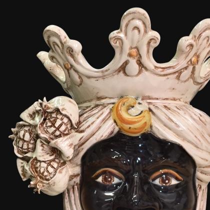 Testa h 40 melagrana avorio maschio moro - Ceramiche di Caltagirone