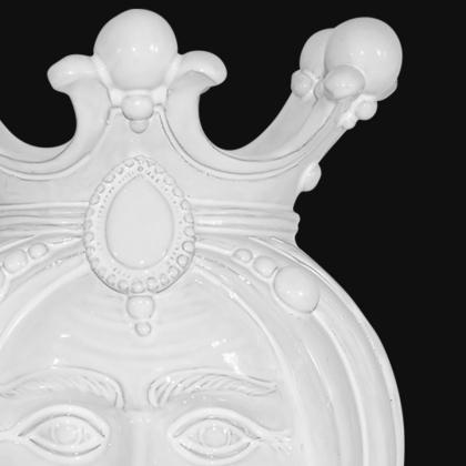 Ceramic Head with lemons h 40 white line male - Modern Moorish heads Sofia Ceramiche