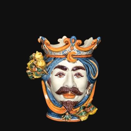 Ceramic Head with lemons h 25 blu/orange male
