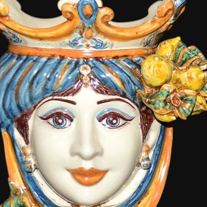 Ceramic Head with lemons h 25 blu/orange female