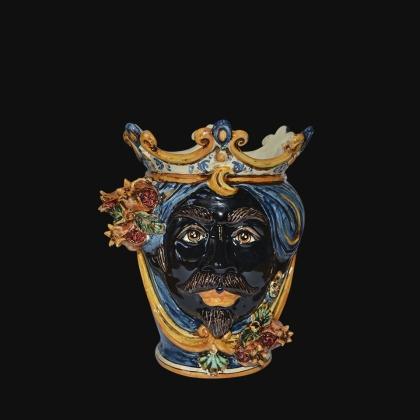 Ceramic Head with pomegranate h 25 blu/orange male