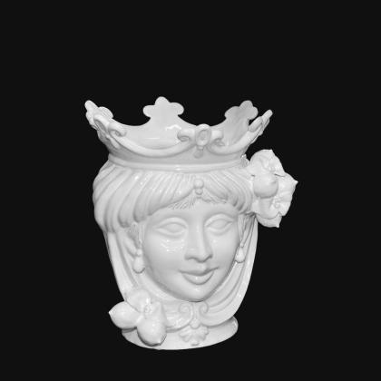 Ceramic Head with lemons h 25 white line female - Modern Moorish heads Sofia Ceramiche