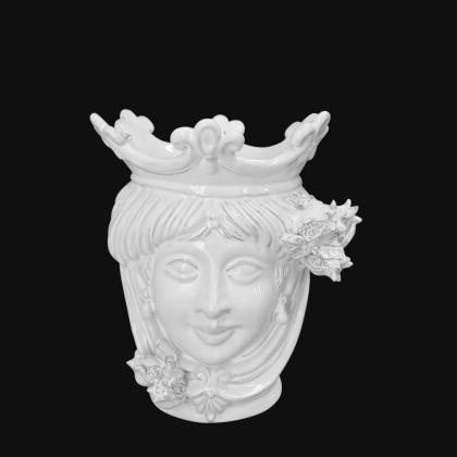 Ceramic Head with pomegranate h 25 white line female - Modern Moorish heads Sofia Ceramiche