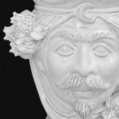 Ceramic Head with pomegranate h 25 white line male - Modern Moorish heads Sofia Ceramiche