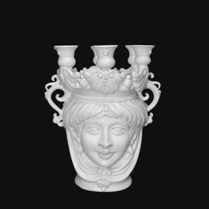 Candlestick head h 25 white line female - Modern Moorish heads Sofia Ceramiche